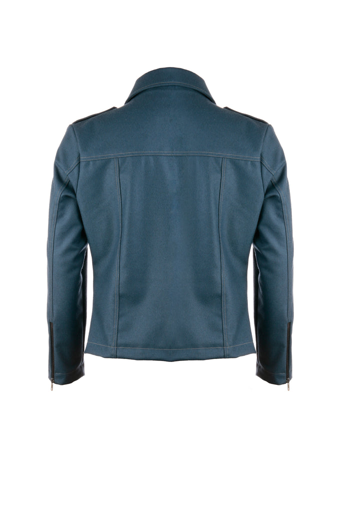 BOMBER MOTOJACKET IN STEEL BLUE