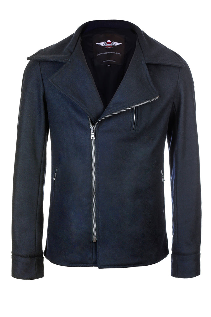 V.3 Motorcycle Pea Coat Navy Wool 17.5 oz.