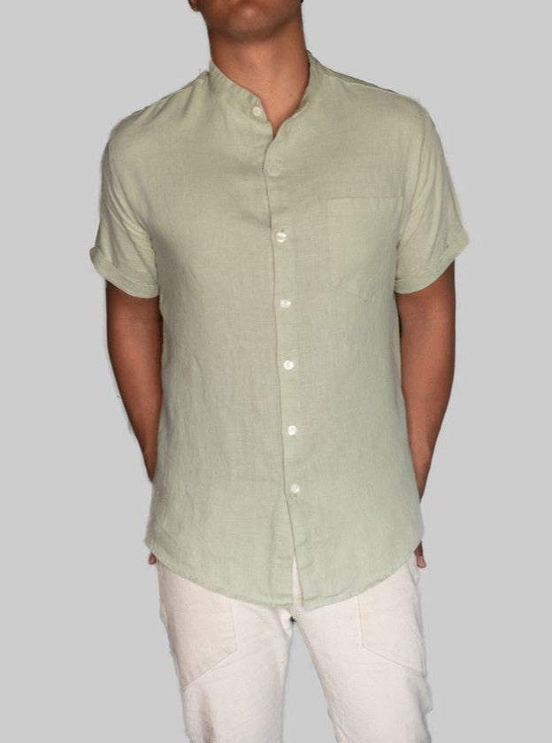 Linen Button Up Mint Green