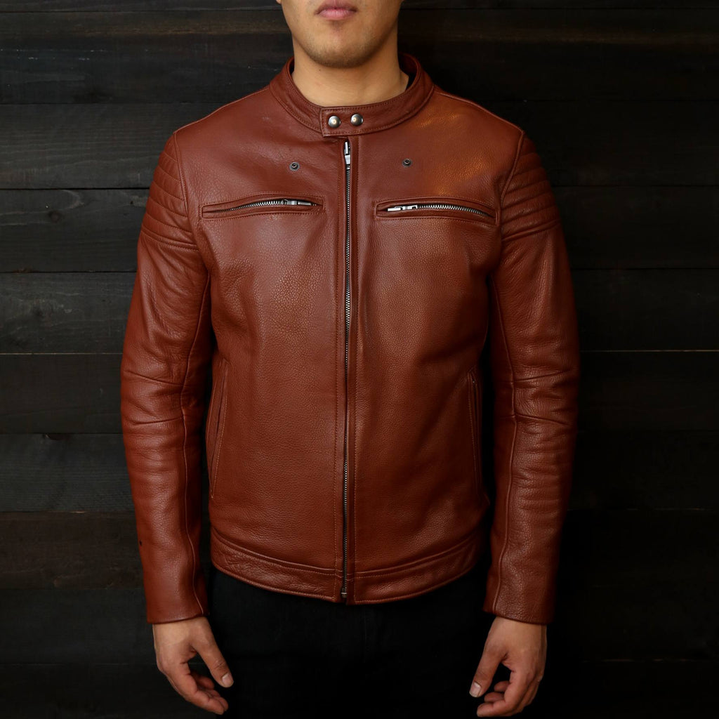 light brown leather motorcycle jacket made in USA