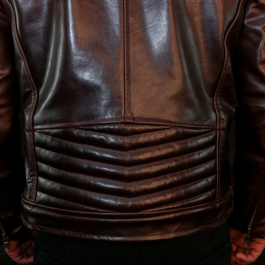 pilot racer motorcycle jacket leather details