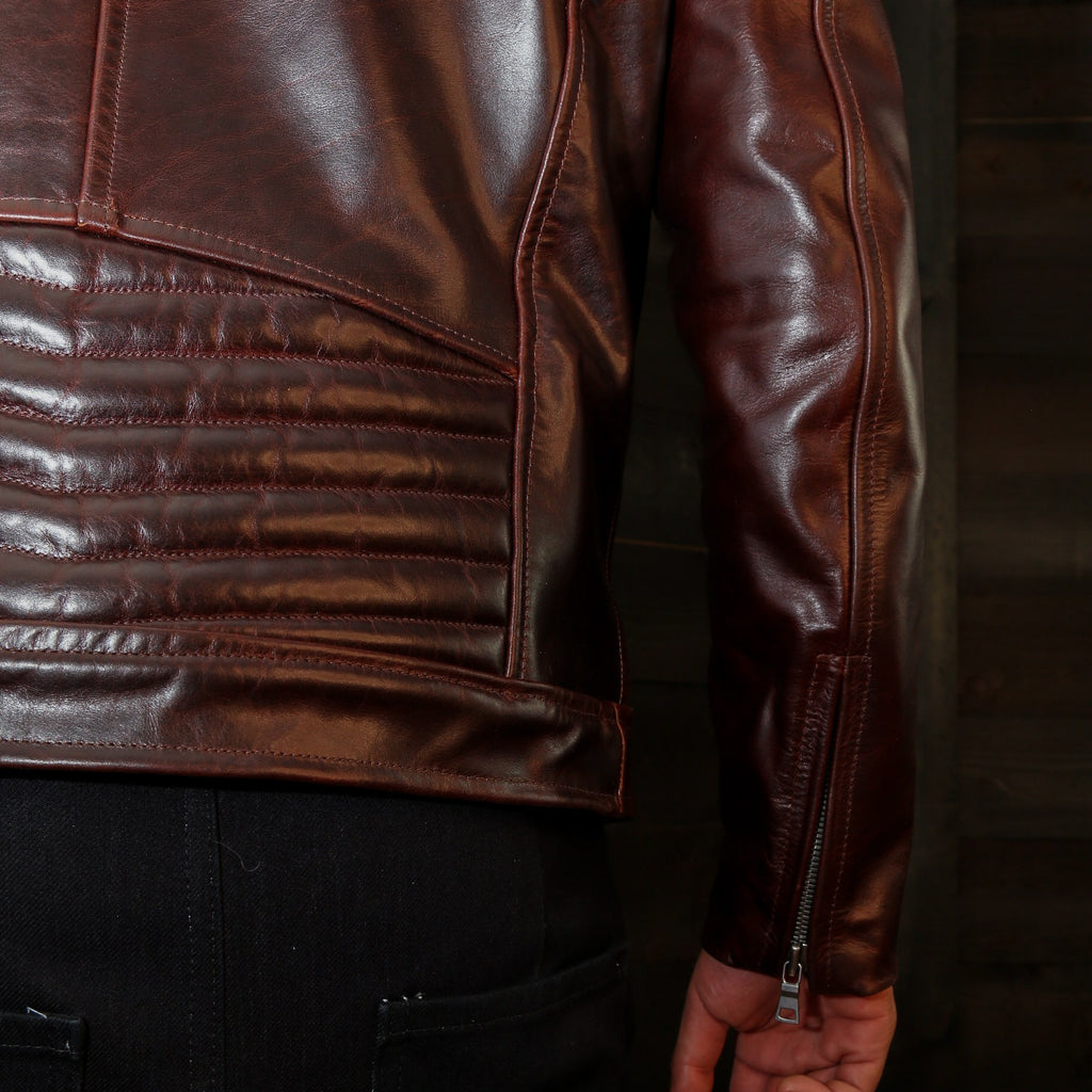 handstitched motorcycle jacket detail vktre moto co.
