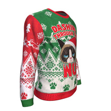 Funny Cat Dashing Through The No Ugly Christmas Sweater-Red-Green-Dashlux