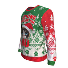 Funny Cat Santa Cap Dashing Through The No Ugly Christmas Sweater-Red-Green-Dashlux