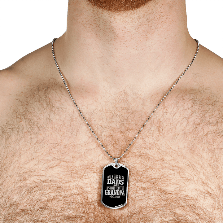 Best Dads Promoted Grandpa Dog Tag Necklace - Dashlux