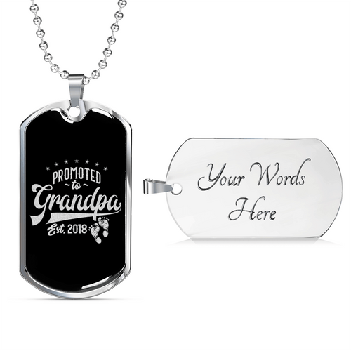 Promoted to Grandpa Dog Tag Necklace - Dashlux