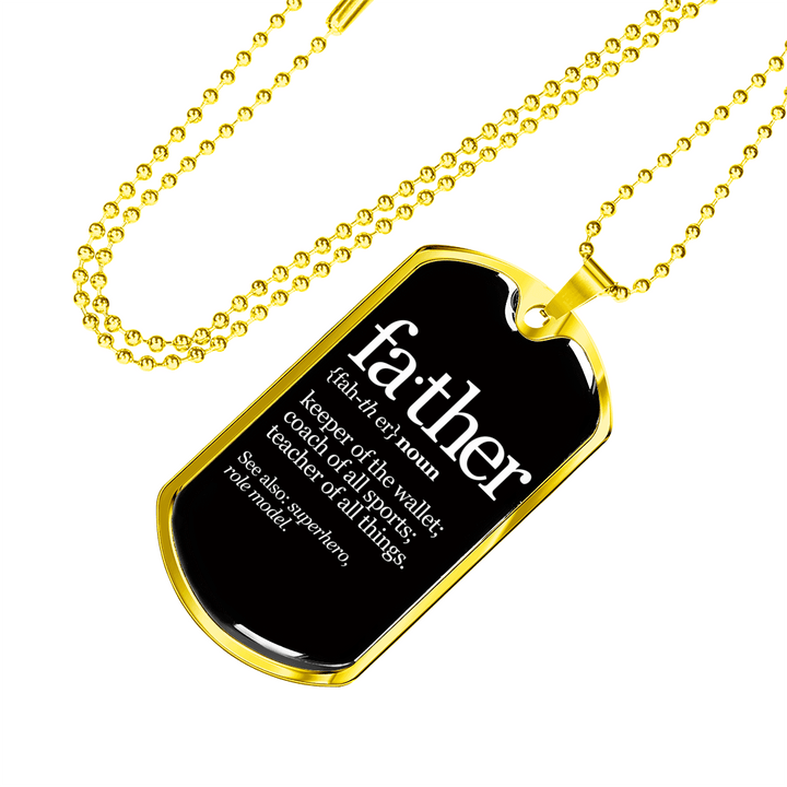 Father Noun Dog Tag Luxury Men Necklace - Dashlux
