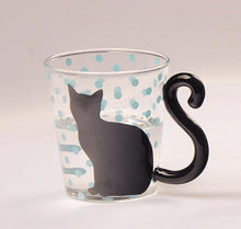 Modern Cat Silhouette Glass Mug