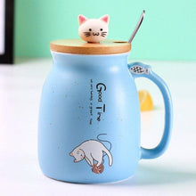 Cute Kitten Cat Ceramic Coffee Mug With Spoon-Blue-Dashlux