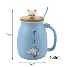 Cute Kitten Cat Ceramic Coffee Mug With Spoon for Coffee-cat lovers-Blue-Dashlux