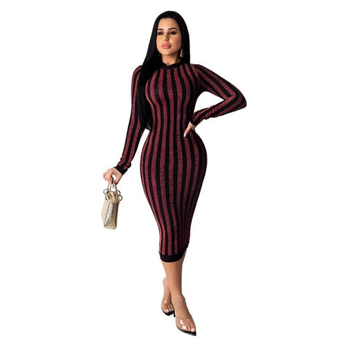 Glitter Striped Long Sleeve Midi Dress