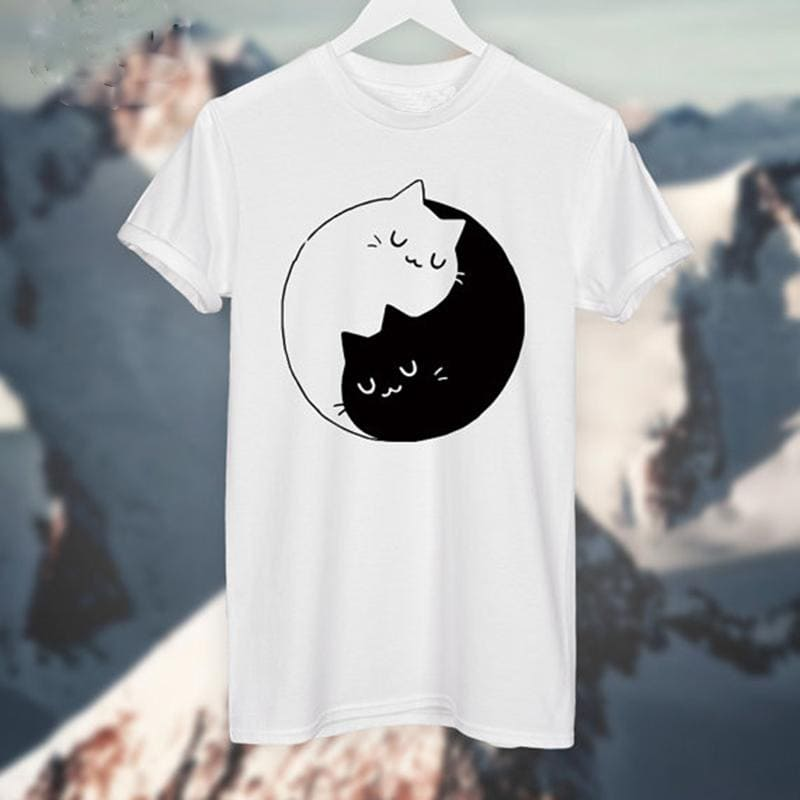 Yin Yang Cats Kittens T-shirt - Dashlux