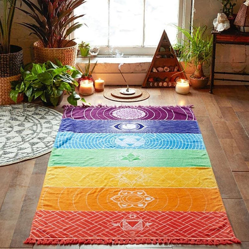 Chakra Rainbow Tapestry Yoga Mat in room- Dashlux