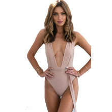 Deep V-Neck With Belt Bodysuit - Dashlux
