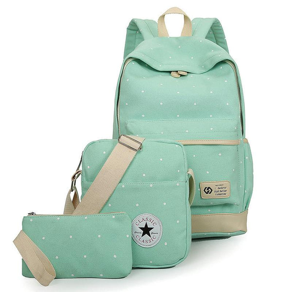 3 pcs Canvas bag set with purse, messenger bag & backpack - Dashlux