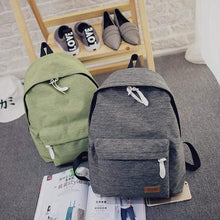 Canvas Fashion Backpack -Green-Gray- Dashlux