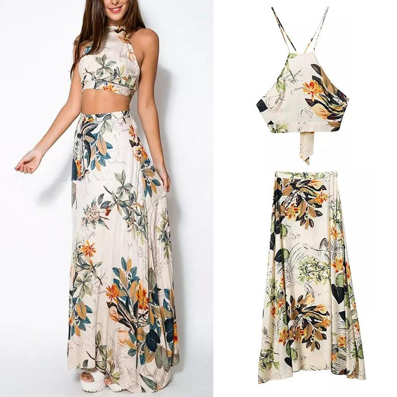 Crop Top Long Maxi Skirt Floral Dress - Dashlux