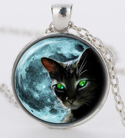 Blue Moon Black Cat Necklace - Dashlux