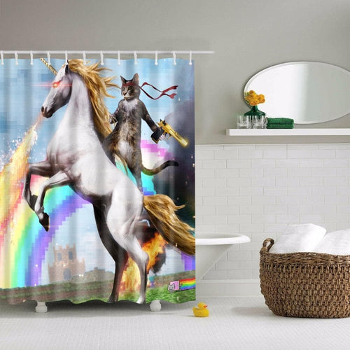 Adventures of Unicorn and Cat Printed Shower Curtain