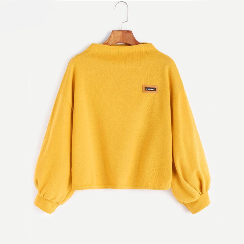 Funnel Neck Lantern Sleeve Sweatshirt