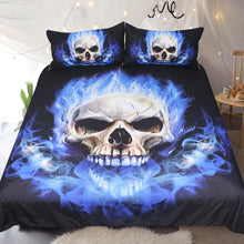 Flame Skull Bedding Set Gothic Duvet Cover
