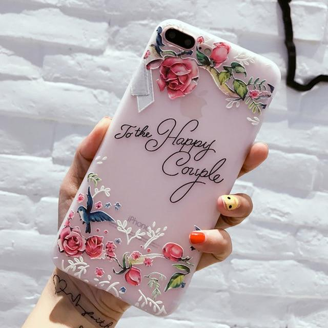3D Relief Rose Flower Pattern Silicon Phone Case For iPhone