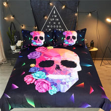 Geometric Skull Rose Duvet Cover Bedding Set- Dashlux