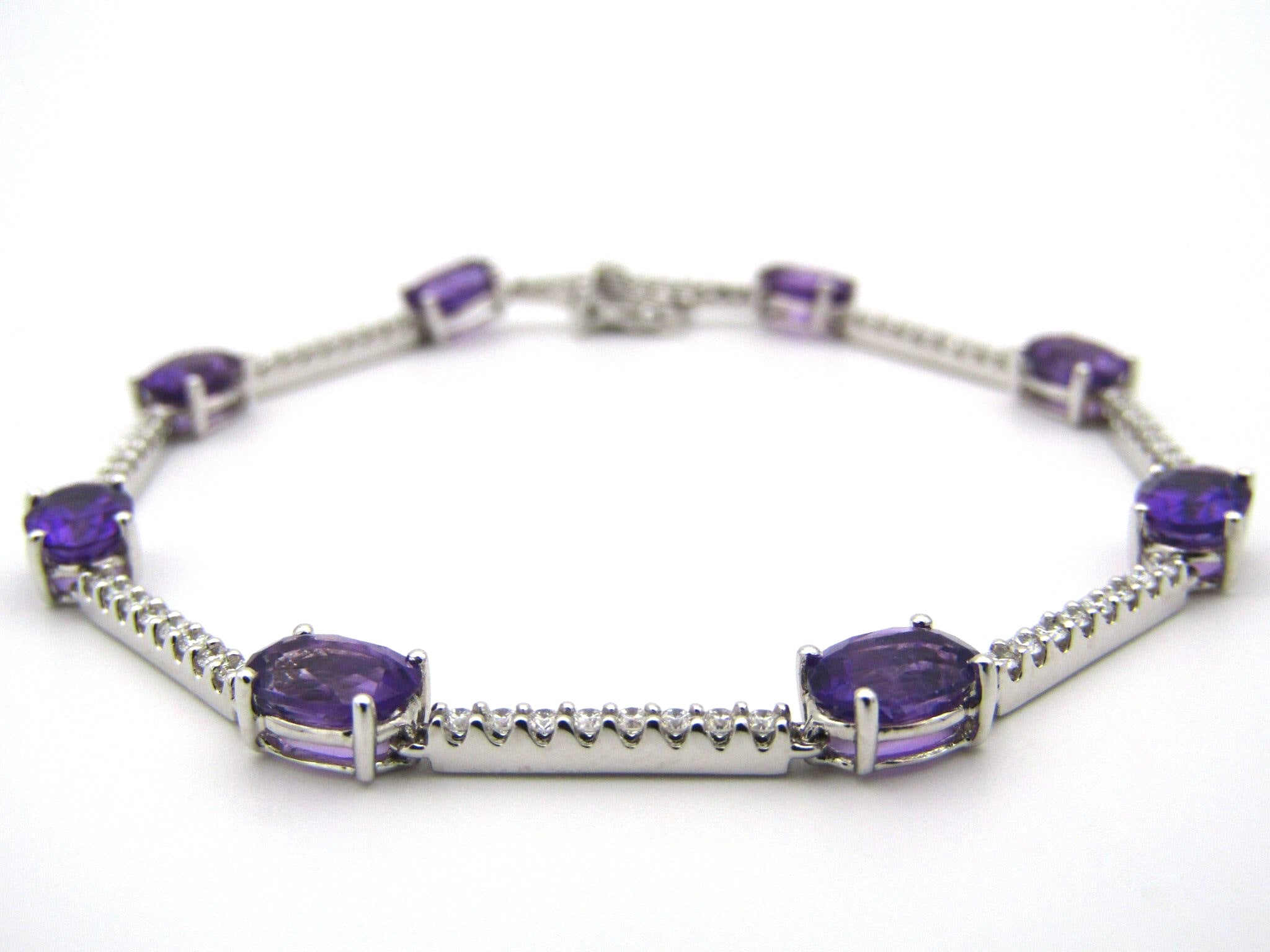 18kt gold amethyst and diamond bracelet.