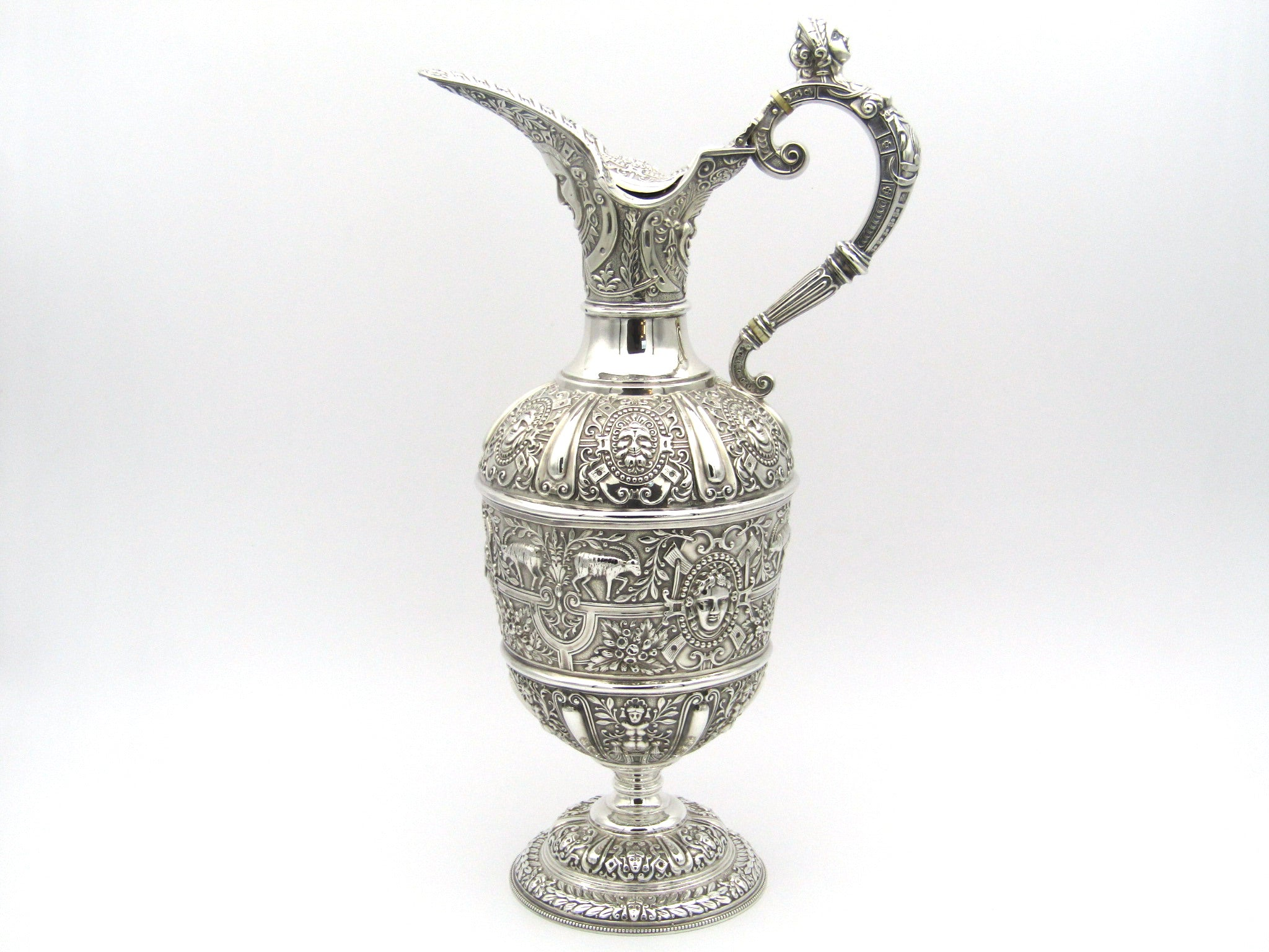 Cellini silver claret jug by James Dixon & Sons, Sheffield 1900.