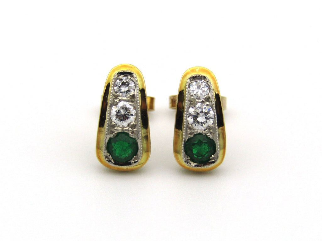 18K gold emerald and diamond earrings.