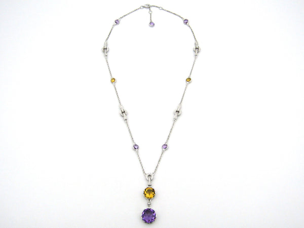18K gold amethyst, citrine, and diamond necklace.