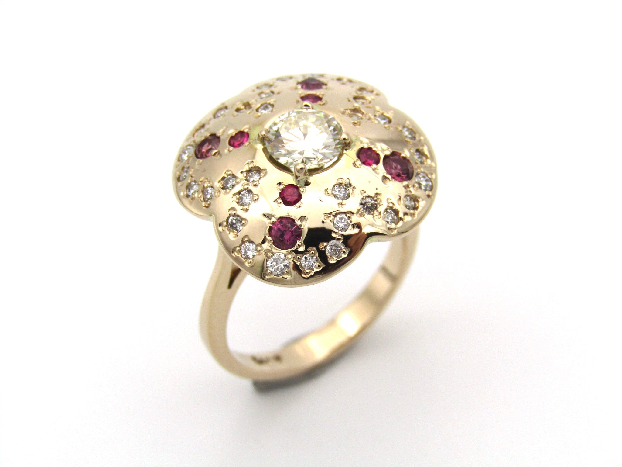 14K gold diamond and ruby flower ring.