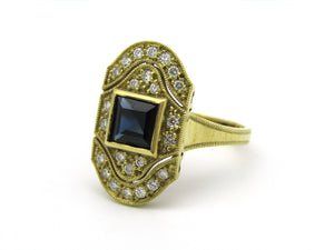 14K gold Art Deco style sapphire and diamond ring.