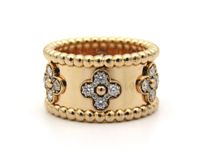 18K gold Van Cleef & Arpels Diamond Perlée Clovers ring.