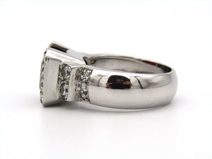 18kt white gold garnet and diamond ring.