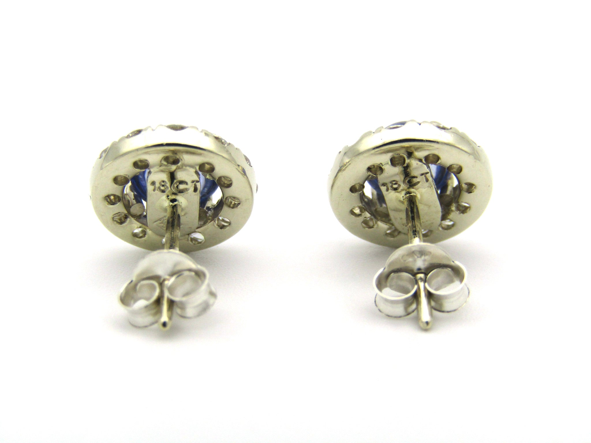 18K gold sapphire and diamond earrings.