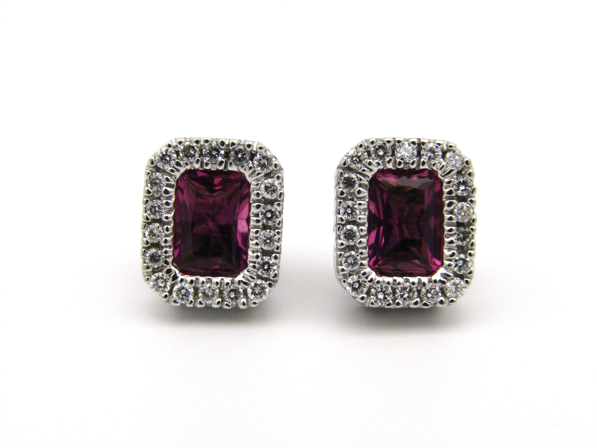 14kt gold Pink Tourmaline and diamonds earrings.