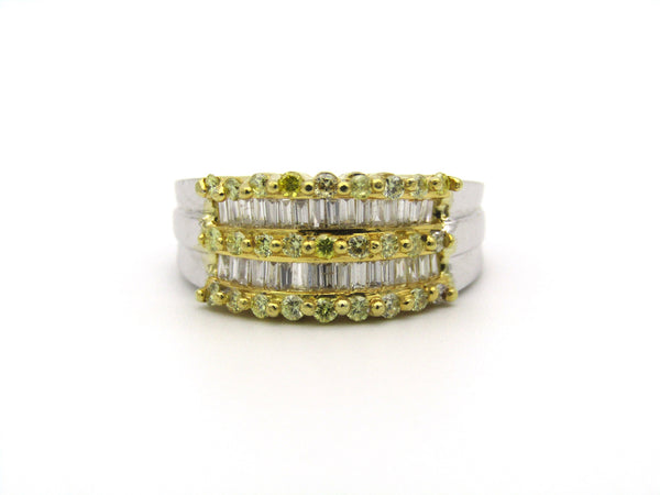 18K gold yellow and colourless diamond ring.