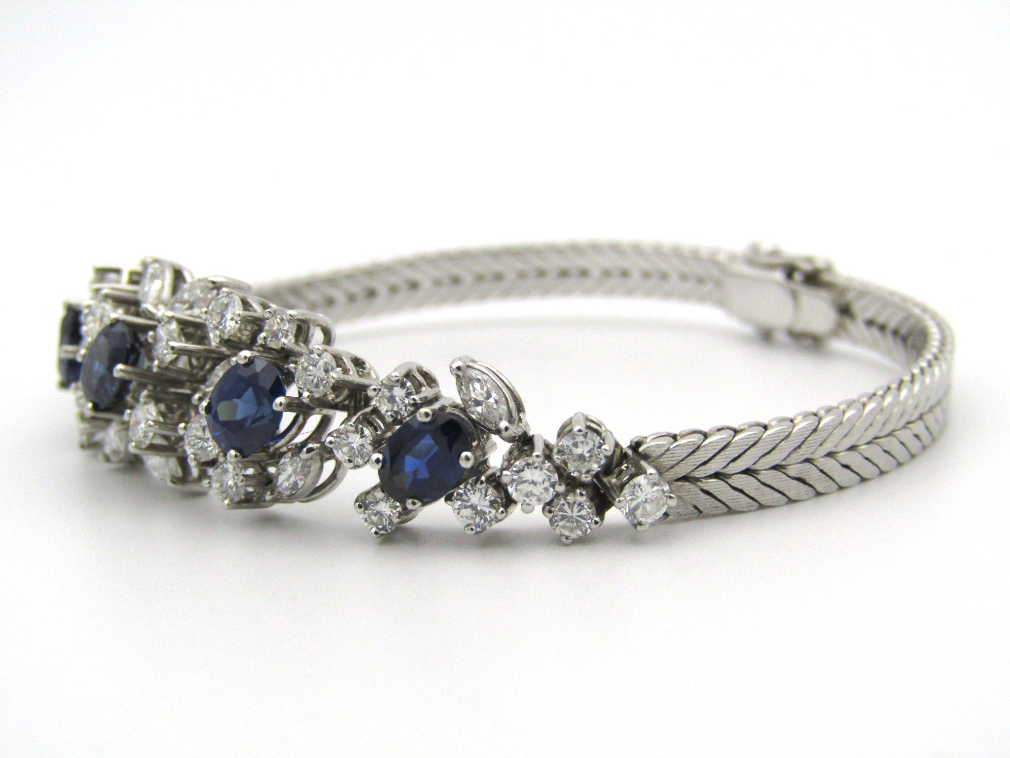 18K gold sapphire and diamond bracelet.