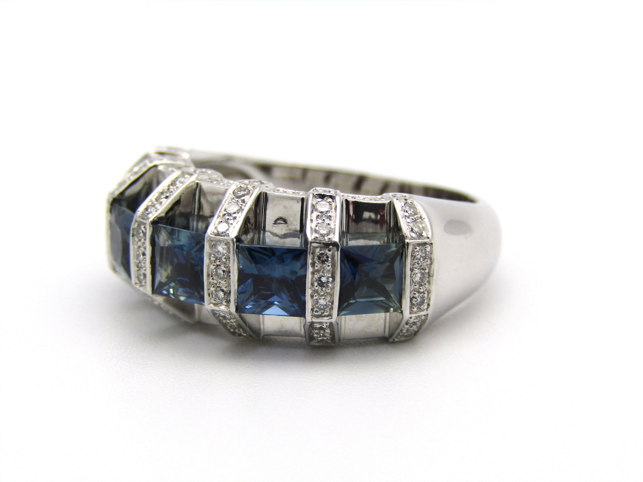 18K gold sapphire and diamond ring.