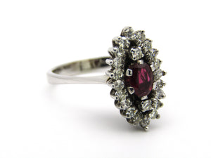 18kt gold ruby and diamond ring.