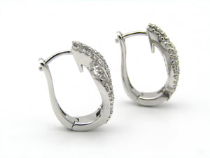Pair of 18kt white gold diamond earrings by Browns.Pair of 18kt white gold diamond earrings by Browns.