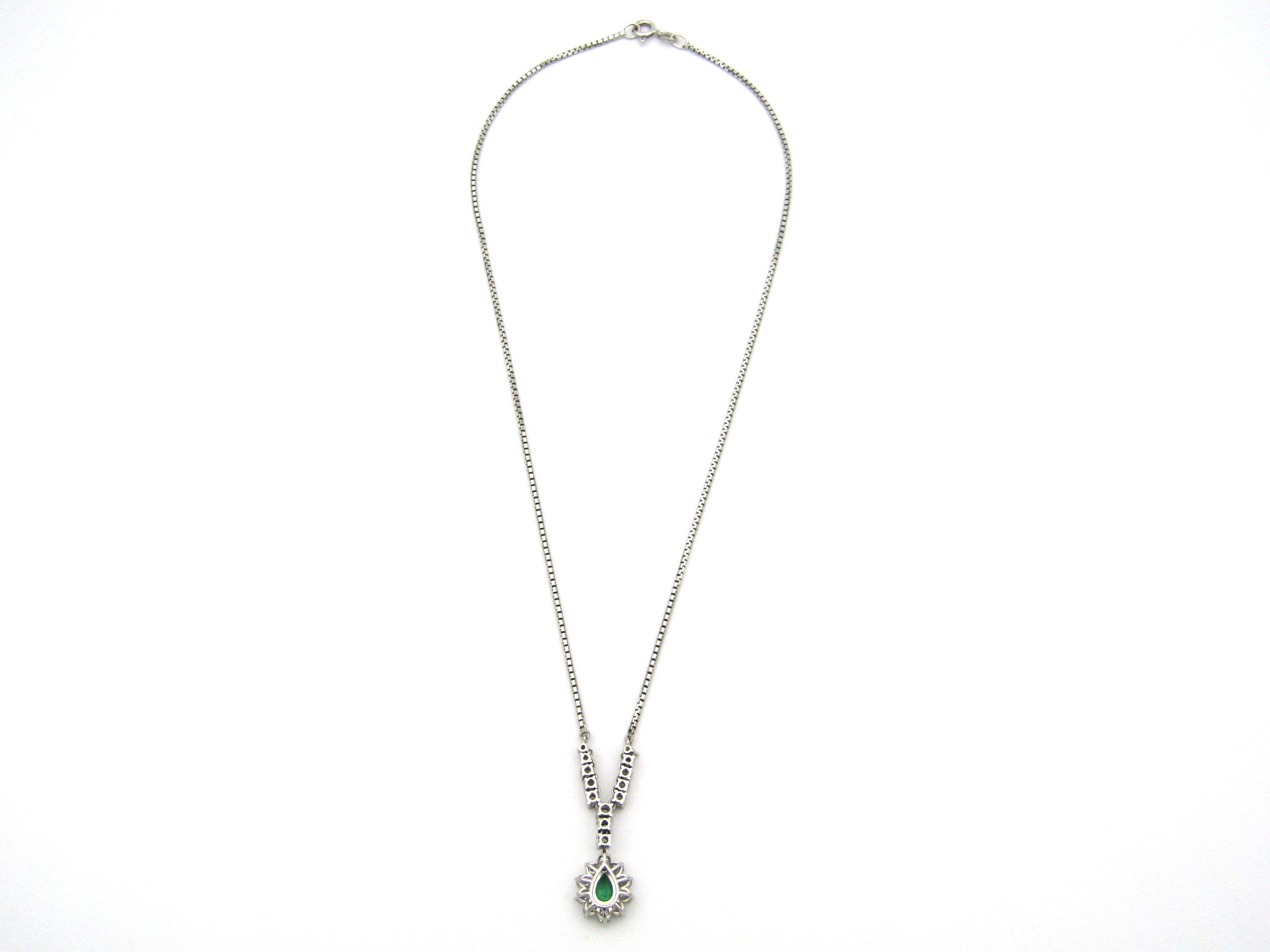 18K gold emerald and diamond necklace.