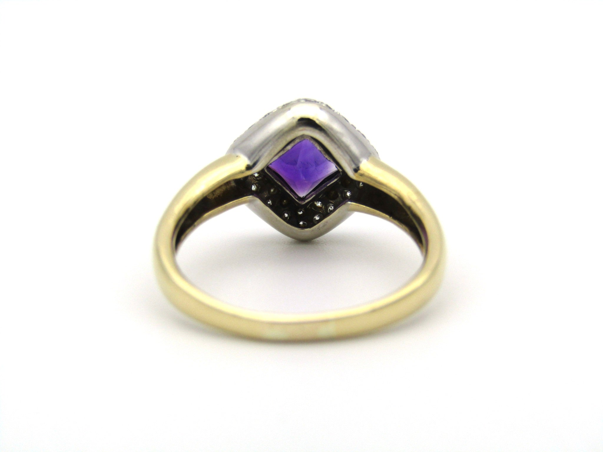 18K gold amethyst and diamond ring.