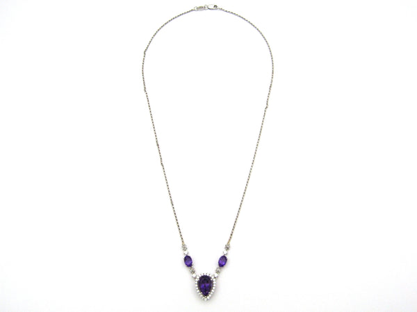 18kt gold amethyst and diamond Necklace.