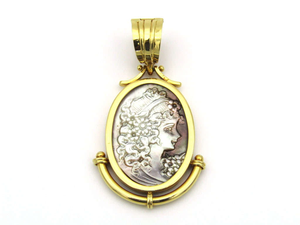 19,2K gold Portuguese mother-of-pearl cameo pendant/enhancer