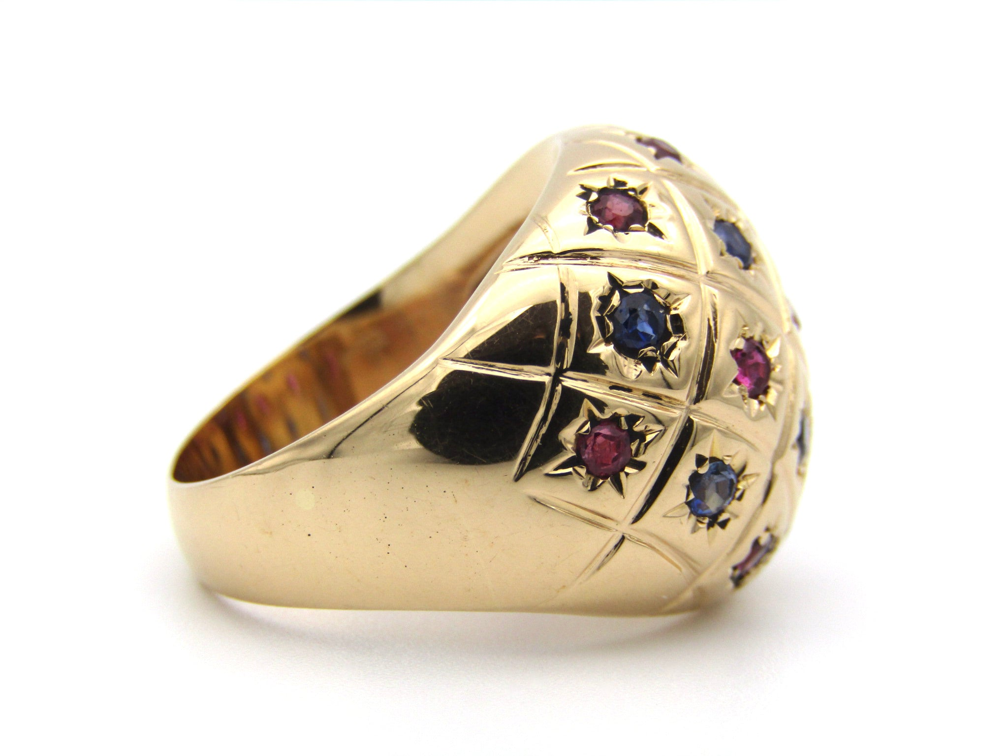 18K gold ruby and sapphire dome ring.