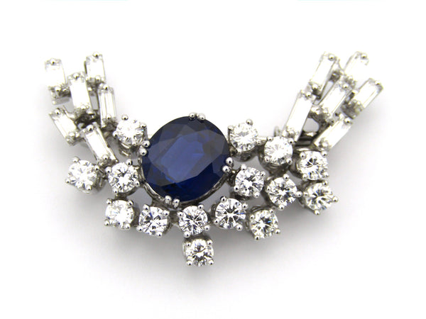 18K gold sapphire and diamond brooch.