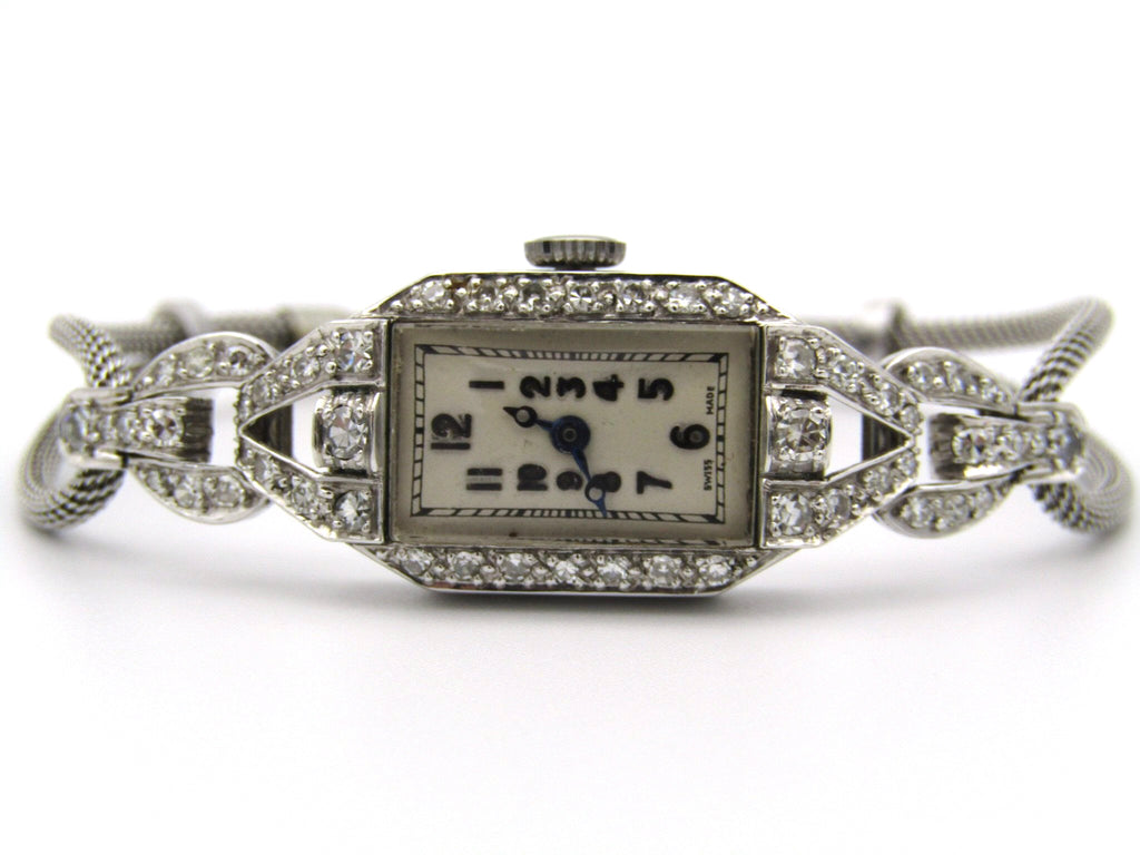 Platinum and diamond Art Deco Watch.