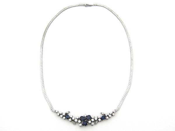 18K gold sapphire and diamond necklace.